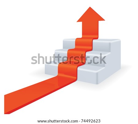 Arrow upstairs. Growth concept. High detailed 3d vector.