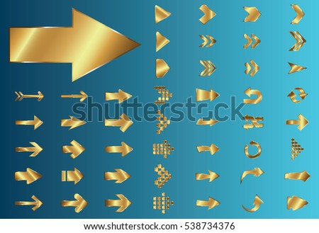 Arrow vector gold curve line up 3d button icon set interface symbol for app, web and music digital illustration design. Application isolated flat digital sign collection on blue background