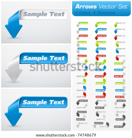 Arrow vector set. 4 colors & 4 directions - stock vector