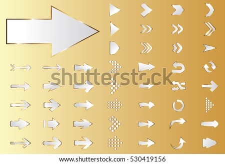 Arrow vector silver curve line up 3d button icon set interface symbol for app, web and music digital illustration design. Application isolated flat digital sign collection on gold background