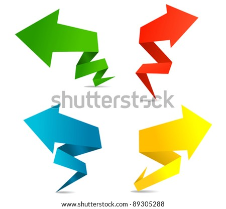 Arrow web banners in origami style for web design. Jpeg version also available in gallery - stock vector