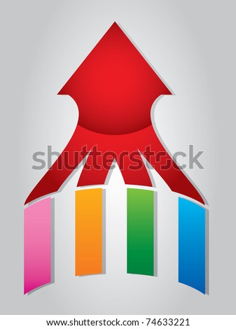 Arrow with colorful wings - stock vector