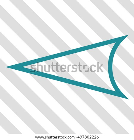 Arrowhead Left vector icon. Image style is a flat soft blue pictogram symbol on a hatched diagonal transparent background.
