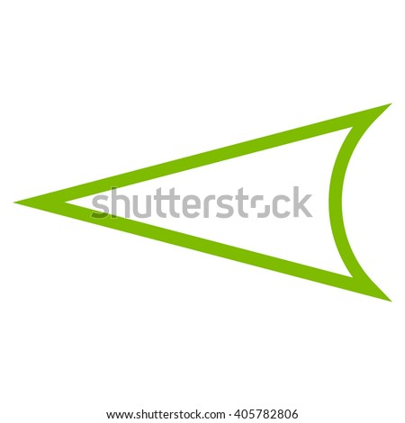Arrowhead Left vector icon. Style is outline icon symbol, eco green color, white background.