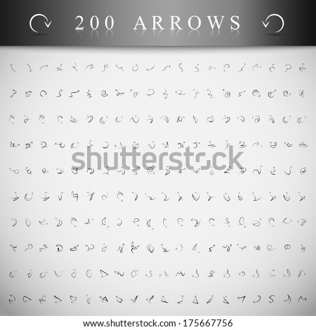 Arrows And Lines, Hand Drawn Set - Isolated On Gray Background - Vector Illustration, Graphic Design Editable For Your Design - stock vector