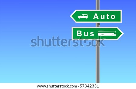 Arrows auto bus on sky background. - stock vector