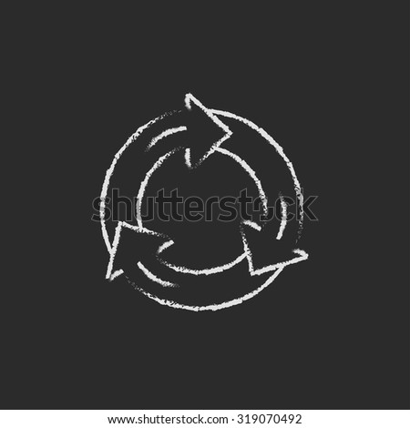 Arrows circle hand drawn in chalk on a blackboard vector white icon isolated on a black background. - stock vector