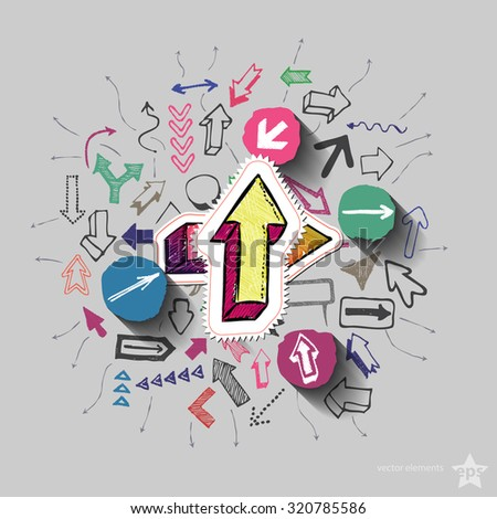 Arrows collage with icons background. Vector illustration - stock vector