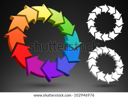 Arrows color wheel 3D. - stock vector