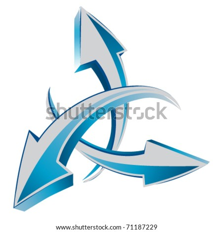 arrows  3d web or cursors. Recycling theme also - stock vector