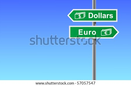 Arrows dollars euro on sky background.