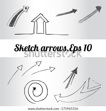 Arrows drawing,vector  - stock vector