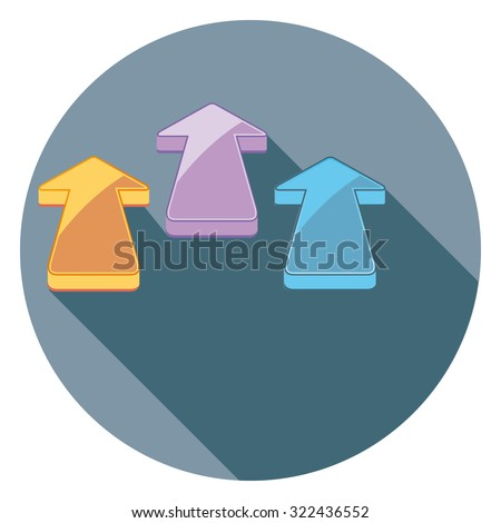 arrows flat icon in circle - stock vector