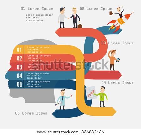 Arrows frome head creative business concept. Vector illustration. - stock vector