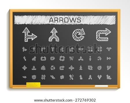 Arrows hand drawing line icons. Vector doodle pictogram set: chalk sketch sign illustration on blackboard with hatch symbols: right, left, move, join, cursor, interface, switch, merge, turn. - stock vector