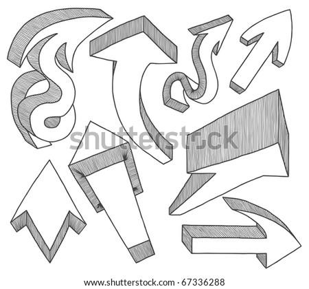 Arrows hand drawn - stock vector