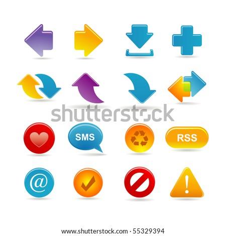 arrows icon set - stock vector