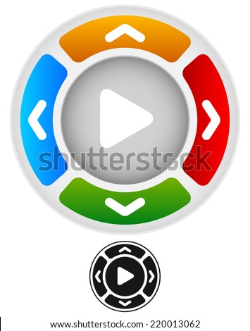 Arrows in four direction with play button at center - stock vector