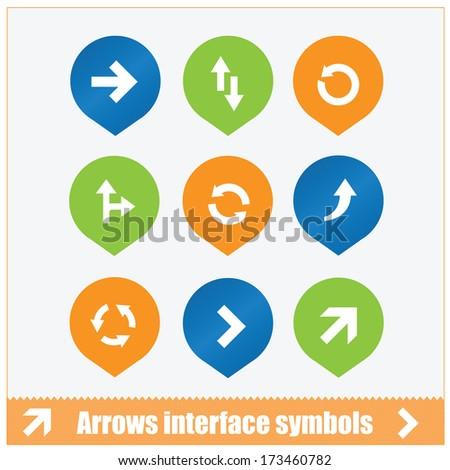 arrows interface symbols set isolated - stock vector