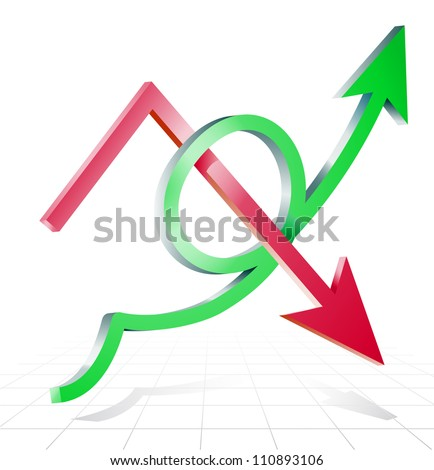 Arrows line success growing upward and decline on graph background - stock vector