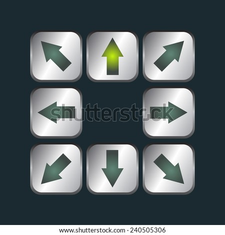 Arrows on metal buttons set