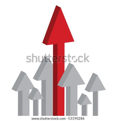 Arrows pointing up, skyrocketing to the sky isolated on white background - stock vector