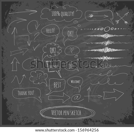 Arrows. speech and thought bubbles, dividers on blackboard. Vector illustration.