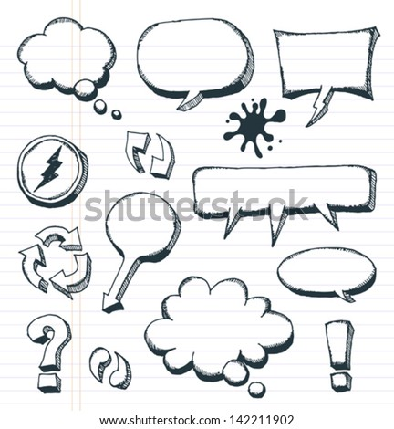 Arrows, Speech Bubbles And Doodle Elements Set/ Illustration of a group of outlined hand drawn sketched elements, arrows, signs and speech bubbles, on school paper with red and blue stripes - stock vector