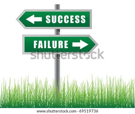 Arrows success failure.Grass below. - stock vector