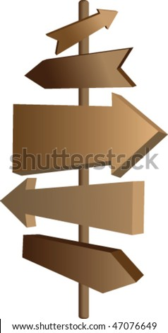 Arrows vector guide sign with various direction blank space