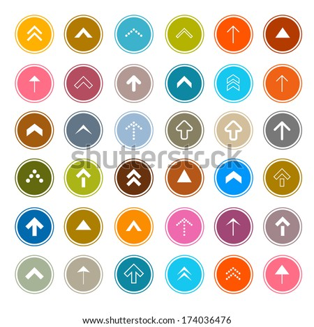 Arrows Vector Set in Circles Isolated on White Background - stock vector