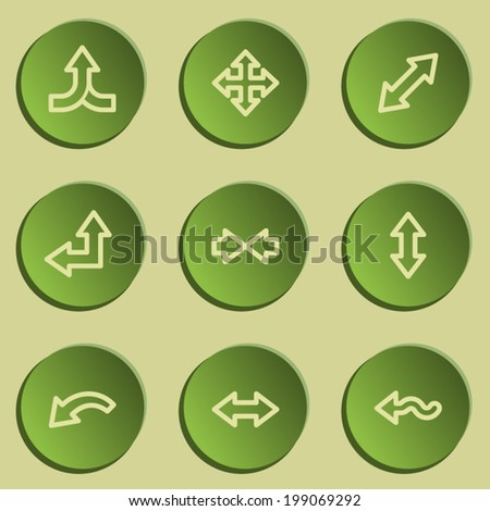 Arrows web icon set 2 , green paper stickers set - stock vector