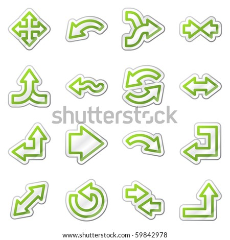 Arrows web icons, green contour sticker series - stock vector