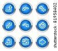 Arrows web icons set 1, blue buttons - stock vector