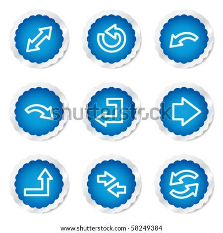 Arrows web icons set 1, blue stickers series - stock vector