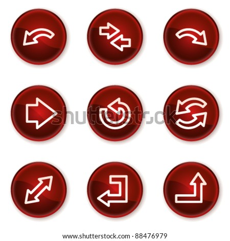 Arrows web icons set 1, dark red circle buttons - stock vector