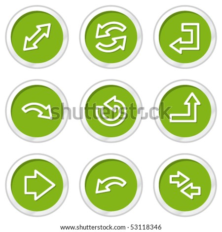 Arrows web icons set 1, green circle buttons - stock vector