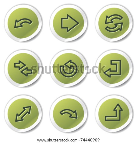 Arrows web icons set 1, green circle stickers - stock vector