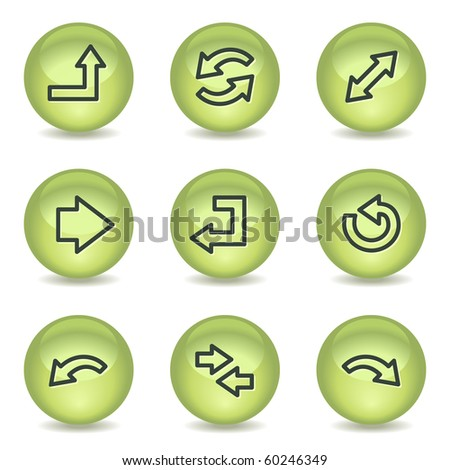 Arrows web icons set 1, green glossy circle buttons - stock vector