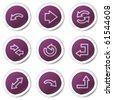 Arrows web icons set 1, purple stickers series - stock vector