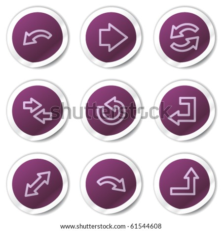 Arrows web icons set 1, purple stickers series - stock vector