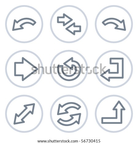 Arrows web icons set 1, white circle series - stock vector