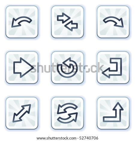 Arrows web icons set 1, white square buttons - stock vector