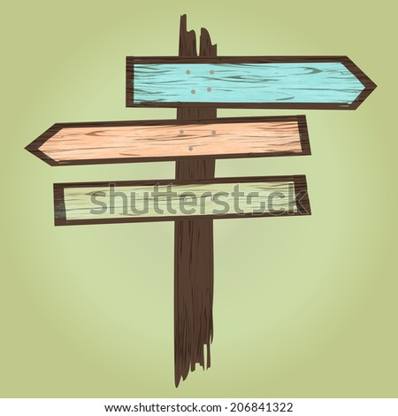 Arrows Wooden Sign/ Illustration of cartoon wood arrows with sign