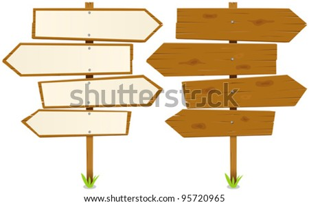 Arrows Wooden Sign/ Illustration of cartoon wood arrows with sign, white and in raw wood - stock vector