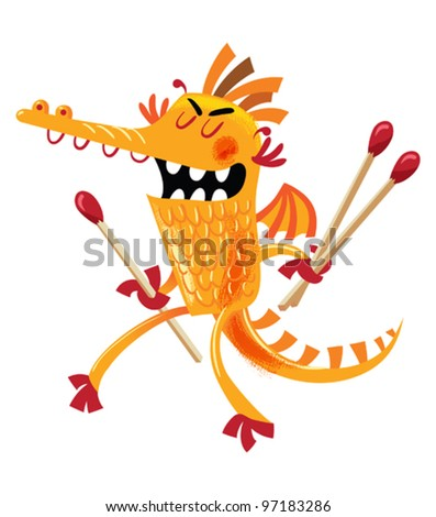 Arsonist Dragon - funny vector illustration of an orange dragon playing with giant matches - stock vector