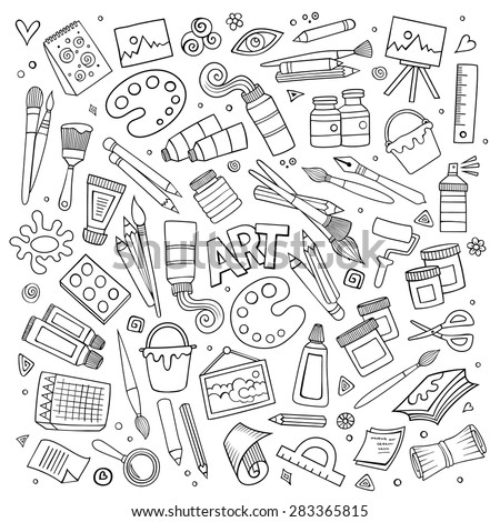 art craft hand drawn vector symbols stock vector 283365815