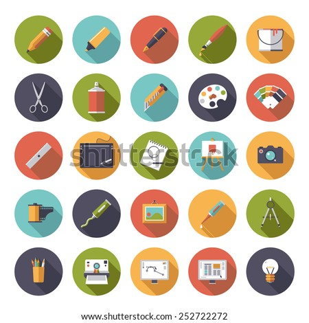 Art and design flat icon vector collection. Collection of 25 flat art and design related vector icons in square shape with rounded corners. - stock vector
