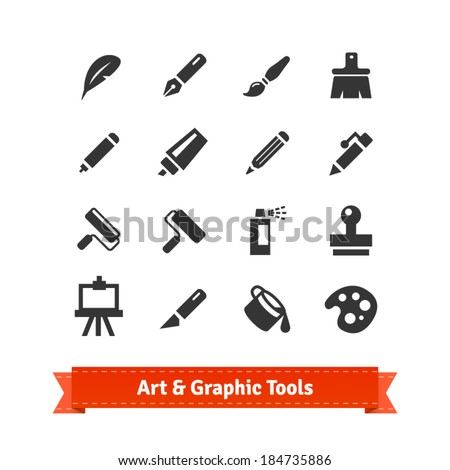 Art and graphic tools icon set. EPS10 vector. - stock vector