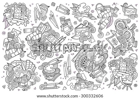 Art and paint materials doodles hand drawn sketchy vector symbols and objects - stock vector